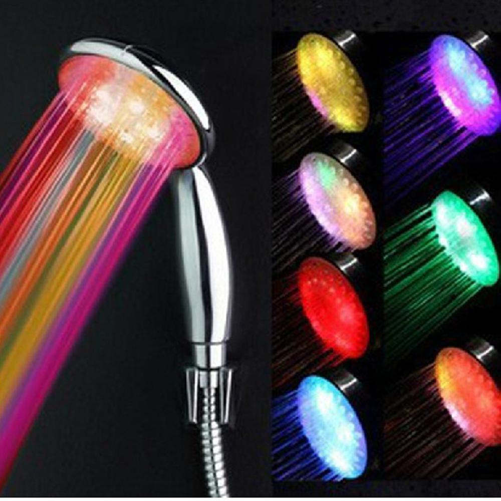 ABS Temperature Sensor Lighting Multi Color Changing Bath Sprinkler Handheld LED Light Shower Head