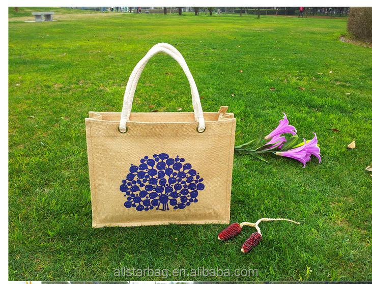 Stylish jute shopping bag elegant jute tote bag for high sale