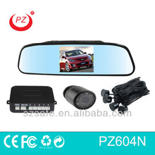 4.3inch lcd rearview mirror warning radar detector with night vision camera and 4 sensors