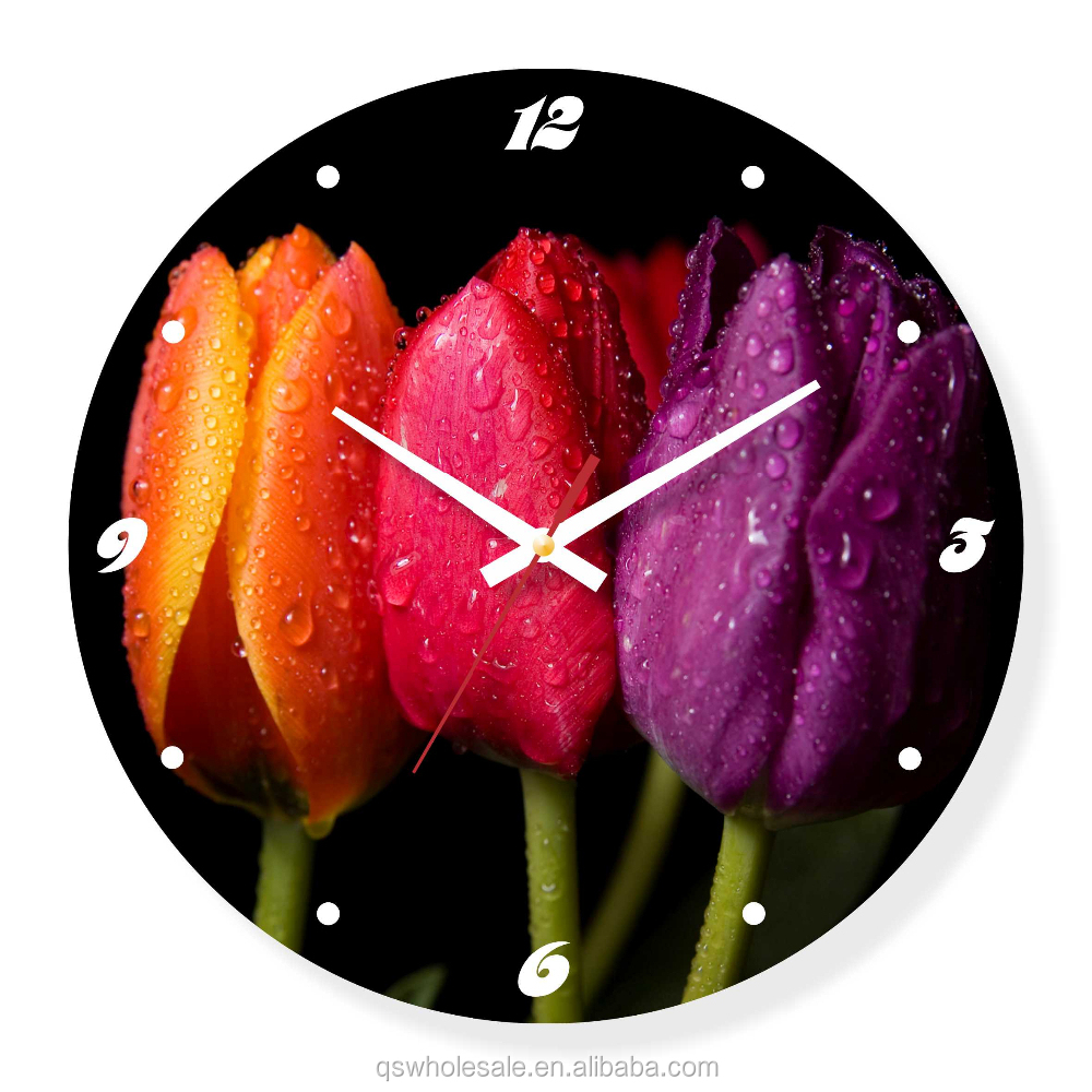 Customizable design home decorative art glass wall clock