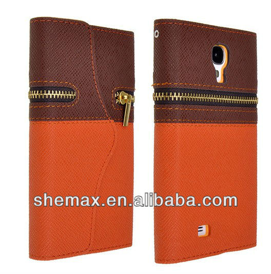 Brown+Orange PU Leather Zipper Flip Case for Samsung Galaxy S4 I9500