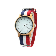 Famous Brand Nylon Strap Natural Bamboo Wooden Watch