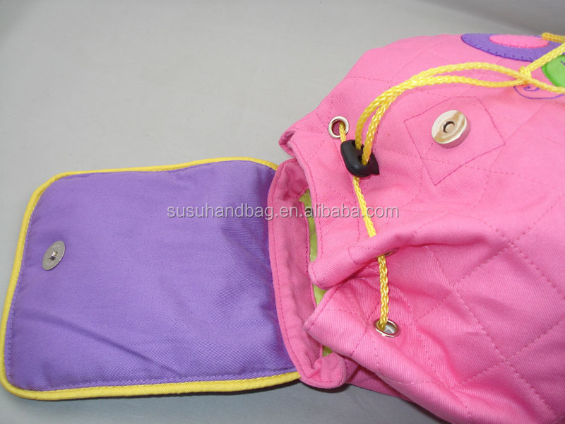 lovely Small Quilted Cotton Pink Children Backpacks With Flowers