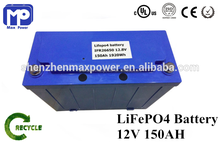 Electric Car/ Golf Car/ Forklift Battery Pack 12V 150Ah Lithium LiFePO4 Battery Storage With BMS