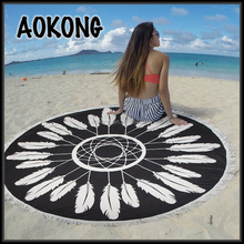 Women summer swiming blanket with white hippie fringes yoga mat black feather round beach towel shawl