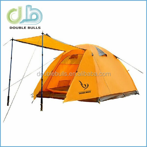Deluxe Waterproof PU 10000mm Silicone Coating Fabric Double Layer Aluminum 2 Person 3 Season Outdoor Camping Hiking Tent