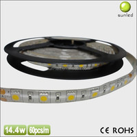 2015 hot sales DC12V dimmable 60LED per meter IP65 waterproof flexible led stripe warm white SMD 5050 led strip light