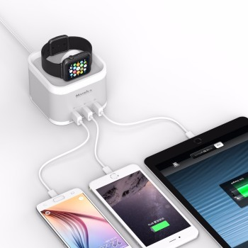 3 Port USB Charging Dock Station & 1Por USB Charger for Apple Watch for Cell Phones