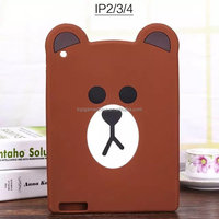 Soft 3D Silicone teddy bear tablet pc for iPad 2 3 4 Air 5 6 back cover case skin