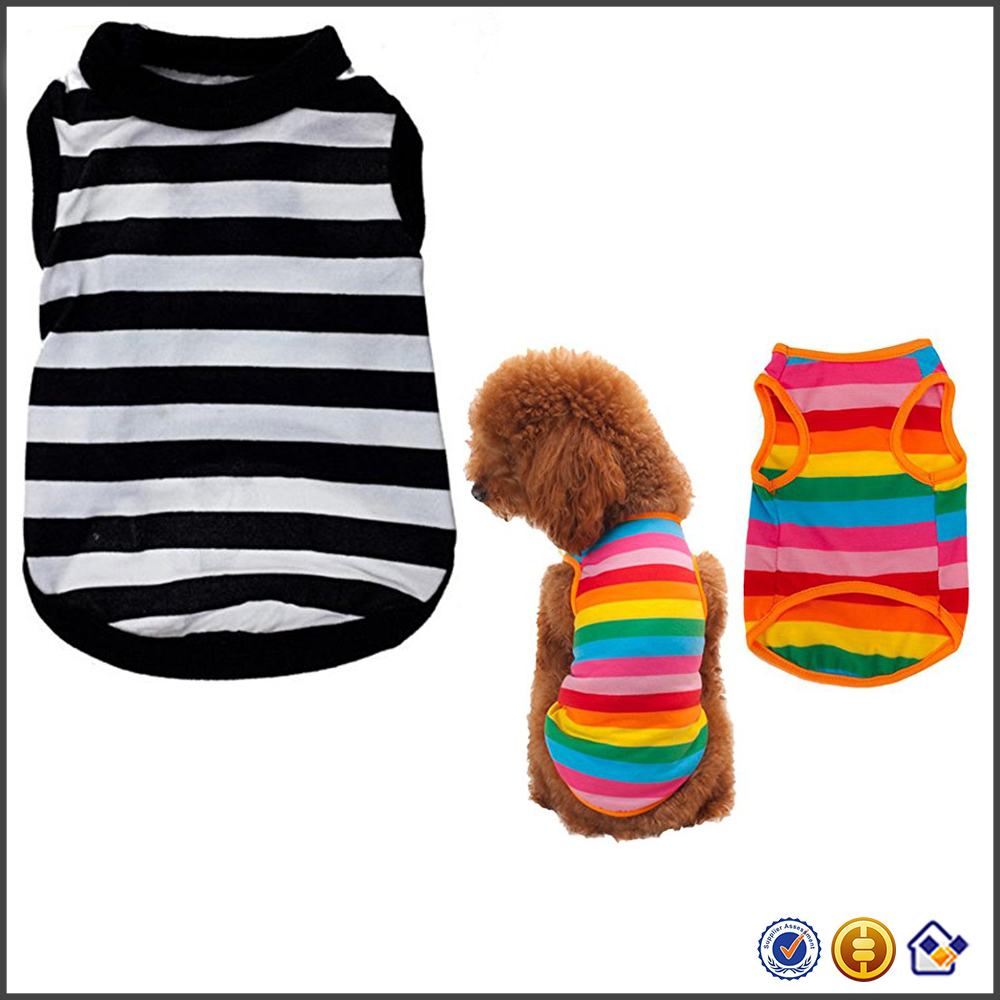 KY wholesale new arrival fashion puppy shirt summer rainbow stripe pet shirts Dog Cat costume clothing