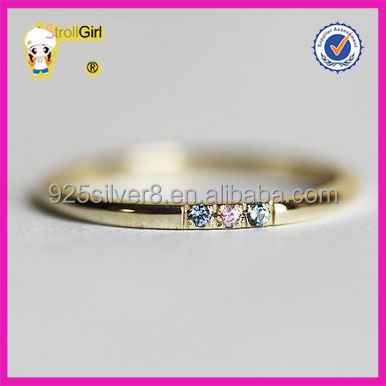 Diamond designer 925 sterling silver ring three stone rings color zc premier designs jewelry thin delicate ring 14k gold