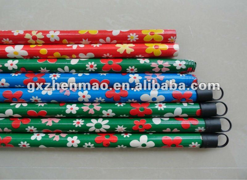flower pvc coated wooden garden broom stick