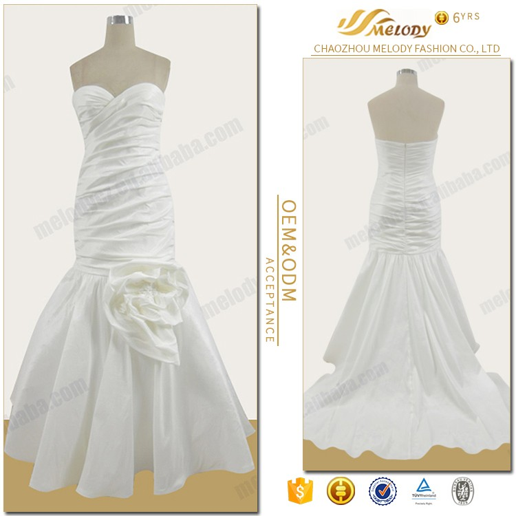 Satin fabric white elegant Chaozhou manufacturer provide ball wedding gown