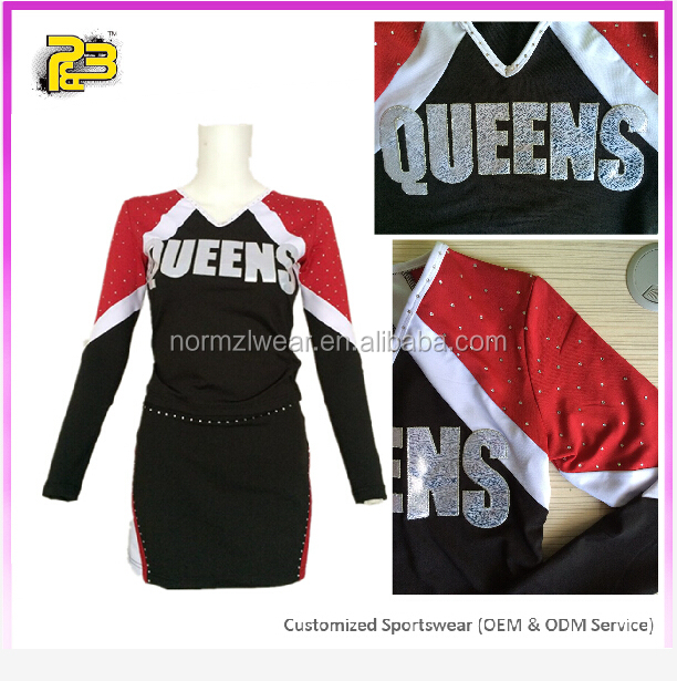 Newest lycra long sleeves dance top and skort custom sublimated cheer wear design for girls
