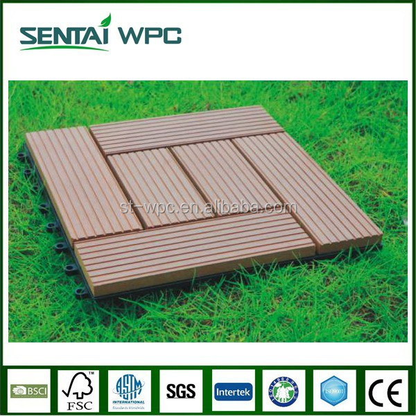 Anti-aging wpc Barefoot friendly Mildew proof interlocking composite deck tiles