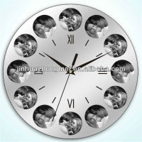 wall clock with multi photo frame/wall clock with 12 photo frame/wall clock with picture frames