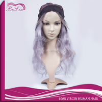 Glueless Ombre Wigs Human Hair Wavy Brazilian Lace Front Wig For Black Women Ombre 1b grey Human Hair Wig