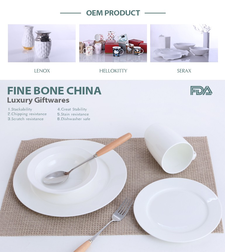 Vente chaude de haute qualité super blanc porcelaine en céramique articles de table pour le petit déjeuner