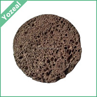 Round shape natural black volcanic bath pumice stone foot scrubber