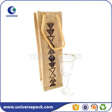 Oem Cotton Rope Handle Jute Single Bottle Wine Bag With Printed Logo