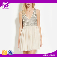 2016 OEM Manufacturers Summer Wholesale Beaded Designs White Chiffon Ruffle Short Sleeve V-neck Casual Dress