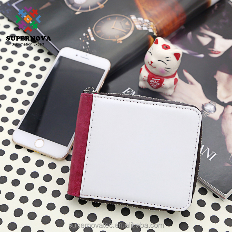 Sublimation Blank zipper short Wallet, Custom PU Leather Purse, ladies hand purse