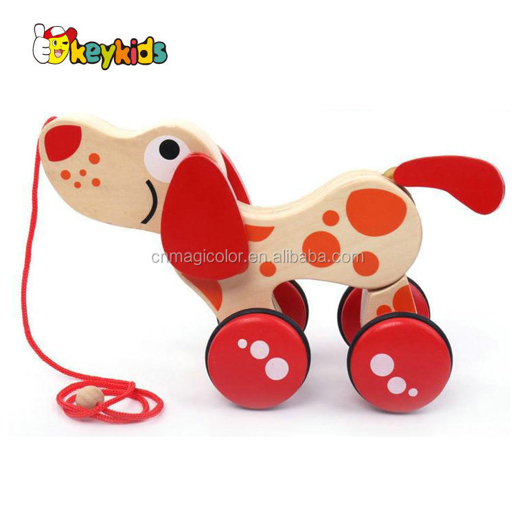 2016 wholesale kids wooden dog toy,fashion baby wooden dog toy,best children wooden dog toy W05B120