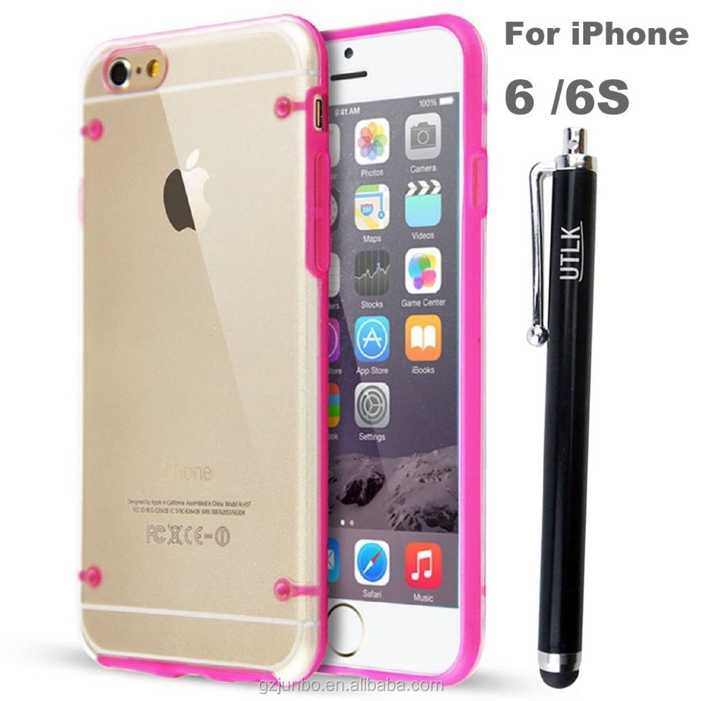 2016 Top Quality Transparent TPU PC Cover Case for iPhone 6 4.7 inch In Stock