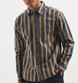 Men's OEM latest style new pattern one chest pocket stripes man casual flannel shirt