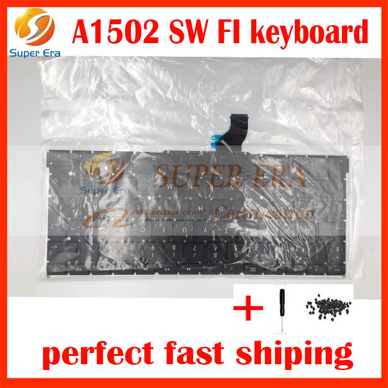 "Original SW SD FI Swedish Finnish AZERTY keyboard without backlit backlight For Macbook Pro Retina 13"" A1502 2013 2014 2015year"