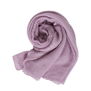 New Plain Muslim Hijab Scarf Crinkled Wrinkle Pleated Stripe Head Scarf Wrap Elastic Shawls