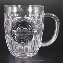 8oz Transparent Plastic Beer Steins/Mug Plastic Freezer Insulated Beer Mug