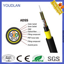 dual core adss fiber optic cable for price per foot and 1km price roll