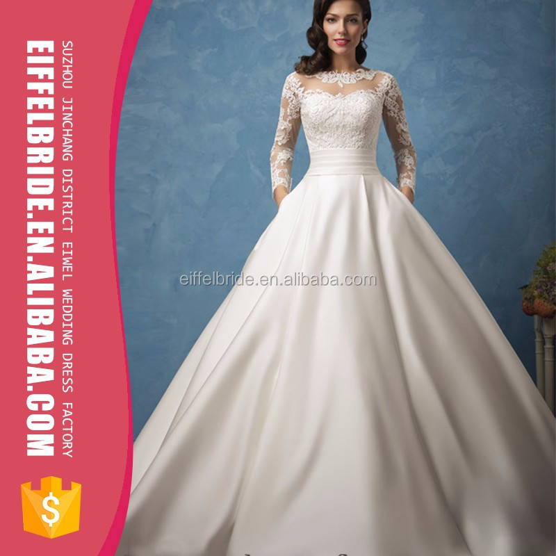 Charmeuse Long Sleeve Wedding Dress Bridal Gown