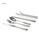 Factory Sales DirectlyCutlery Stainless steel Knife Fork Spoon Chopstick Straw dinnerware set with bag packing