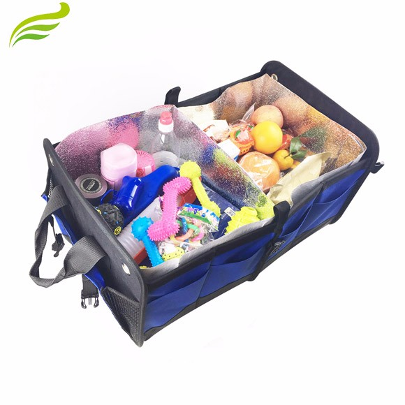 Collapsible Multiple Section Auto Storage Use Folding Type Car Organizer Truck Bag Organizer 600D