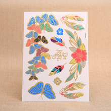 wholesale high quality gold temporary tattoo/gold & silver custom temporary tattoo/metalic tattoo