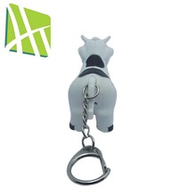 Hot Sales HT2085 Cow Shaped Sound With Plastic LED Torch Keychain
