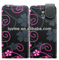 cover for Sony Xperia P LT22i Flip Protection Case Cover Pouch With Solid Build In Phone Holder Housing Black Floral Pattern