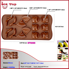BT0095 Wholesale Price14 Holes Silicone Chocolate Mold Mini Chocolate 14 Holes Girl Shoes And Bag Style Chocolate Mold