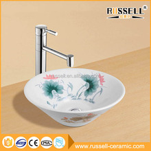 Casual style modern hotel home hand painted ceramic sink