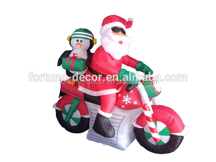 150cm/5ft inflatable santa claus rides a red motorcycle with a penguin behind for Christmas