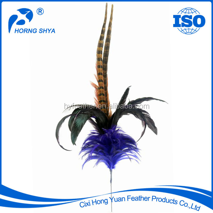 China Trading Wholesale E-26 Super Quality Dyed Pheasant-Rooster Stem Decorative Feather Picks