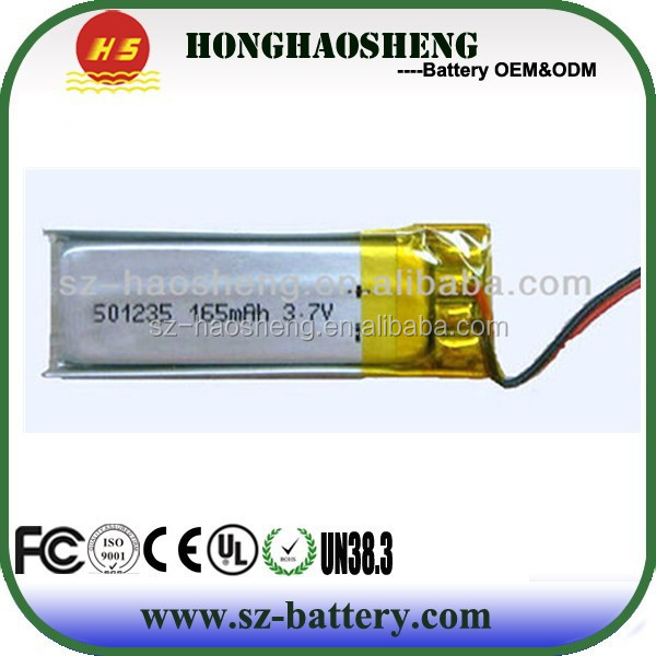 Hot digital products lipo battery 501235 170mAh 3.7V li polymer battery for MP3/MP4/MP5 Player