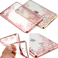 Secret flowers with diamond soft TPU electroplating frame back shell tablet Cover for ipad mini 2 3 4 Case