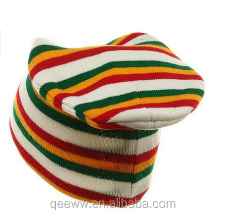 Thickness Soft and Warm Long Beanies Rainbow Colors Unisex Knit Hat