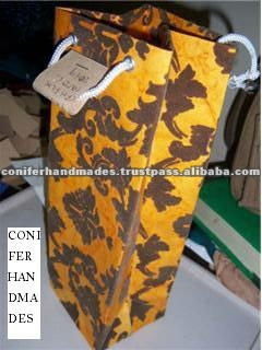 Flock Printed Eco Friendly Wine Bottle Bags