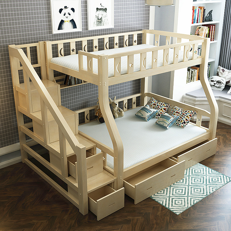 Modern Solid Wood Double Twin Bunk Bed With Double Bed,commercial Kid Pine Loft Bunk Bed Wholesale