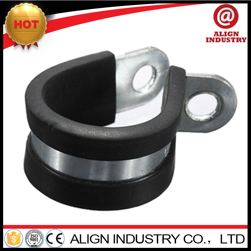stainless steel clamps low price 35mm rubber lined metal p-clips 25mm bandwith supply fixing pipe repair clamp