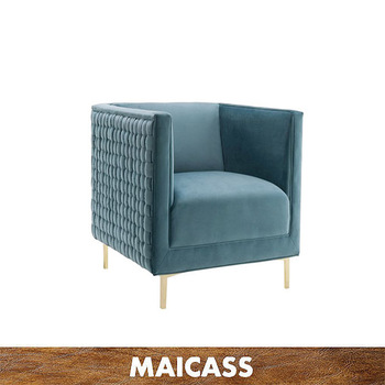 Simple design stainless steel legs velvet single seater sofa